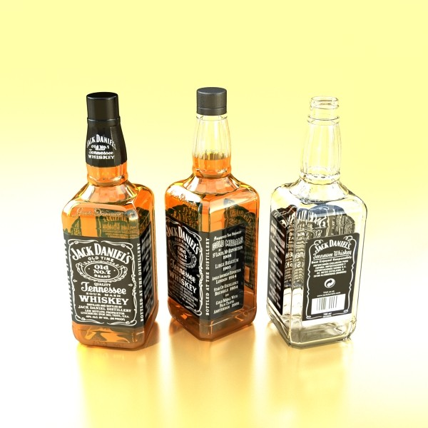 photorealistic and high detailed 7 liquor bottles. 3d model 3ds max fbx obj 140821