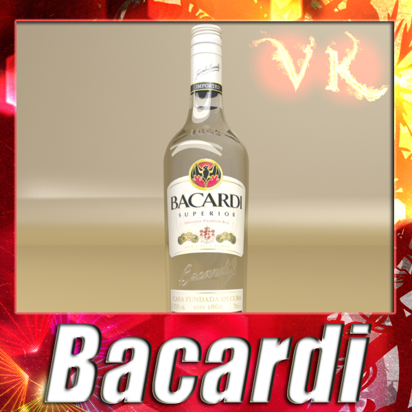 photorealistic liquor bottle : bacardi superior 3d model 3ds max fbx obj 137828
