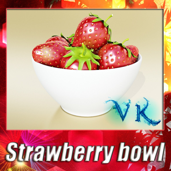 photorealistic strawberries in bowl 3d model 3ds max fbx obj 133189
