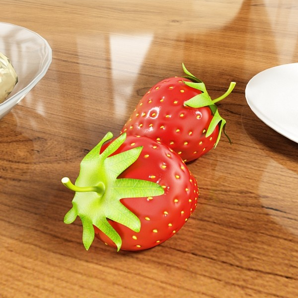 photorealistic strawberries in bowl 3d model 3ds max fbx obj 133191