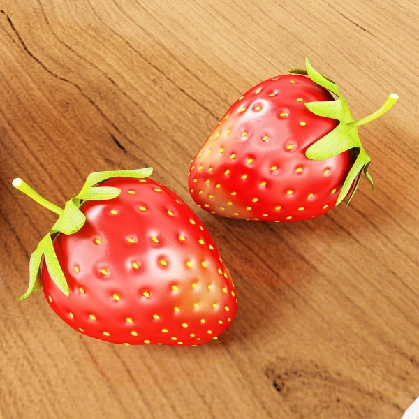 photorealistic strawberries in bowl 3d model 3ds max fbx obj 133192