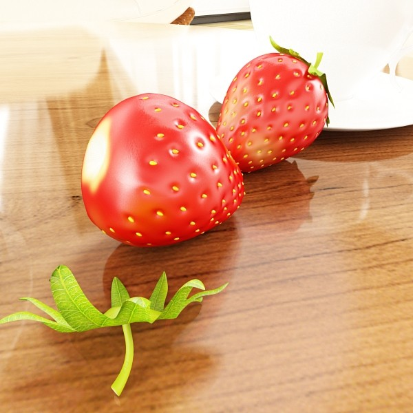 photorealistic strawberries in bowl 3d model 3ds max fbx obj 133194