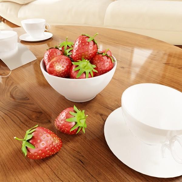 photorealistic strawberries in bowl 3d model 3ds max fbx obj 133196