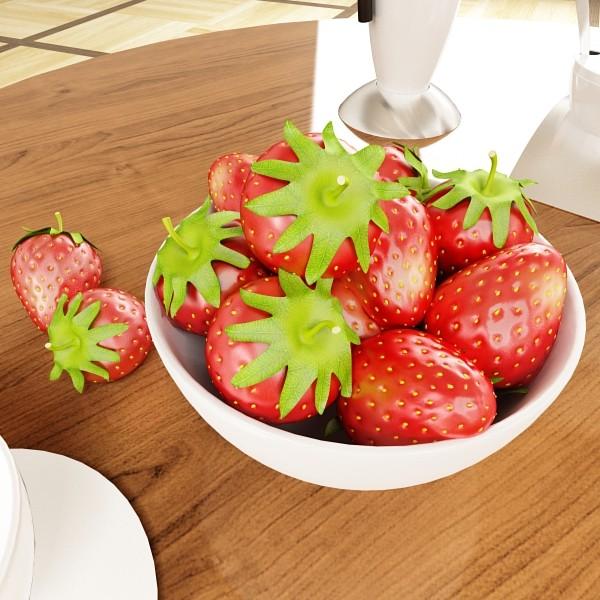 photorealistic strawberries in bowl 3d model 3ds max fbx obj 133197