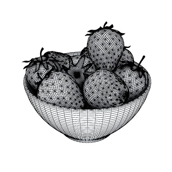 photorealistic strawberries in bowl 3d model 3ds max fbx obj 133199