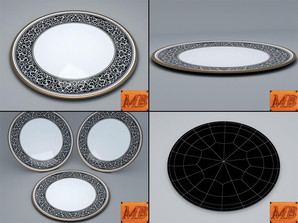 plate 1 3d model 3ds max fbx c4d dae obj 156257