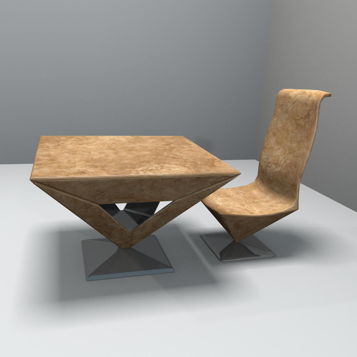 pyramid table and chair 3d model blend obj 140164
