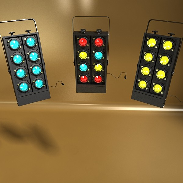 realistic stage lights collection 6 items 3d model max fbx obj 130811