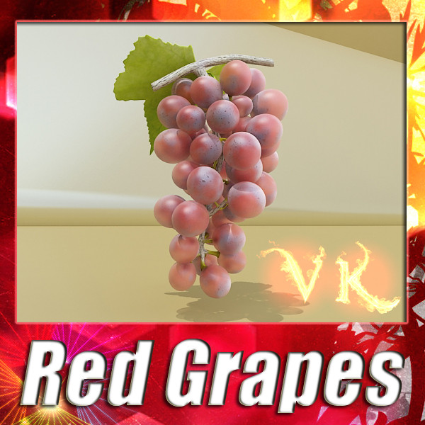 red grapes high detail 3d model 3ds max fbx obj 133024