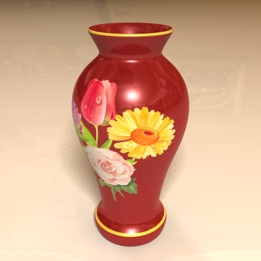 red vase 3d model 3ds max blend br4 obp obj 119330