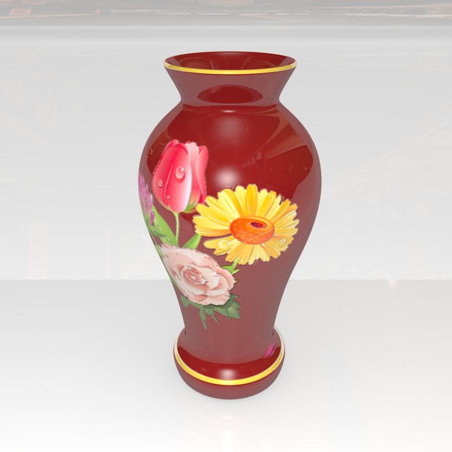 red vase 3d model 3ds max blend br4 obp obj 119331