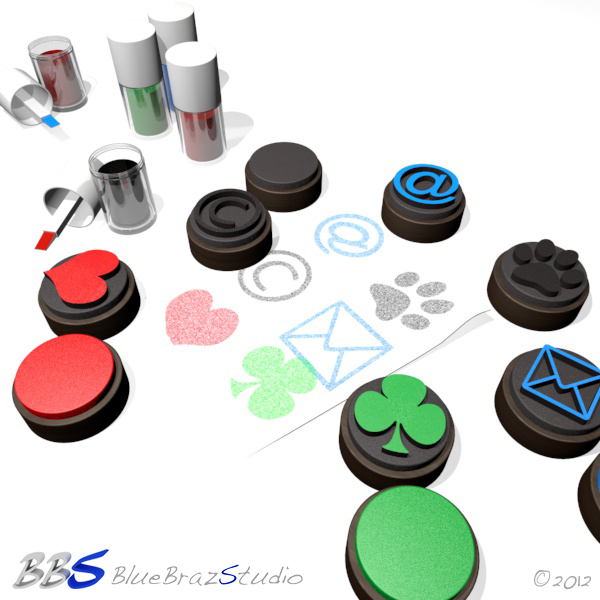 rubber stamps set 3d model 3ds max c4d dae 140686