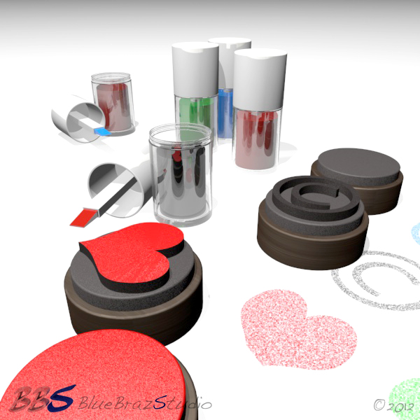 rubber stamps set 3d model 3ds max c4d dae 140687