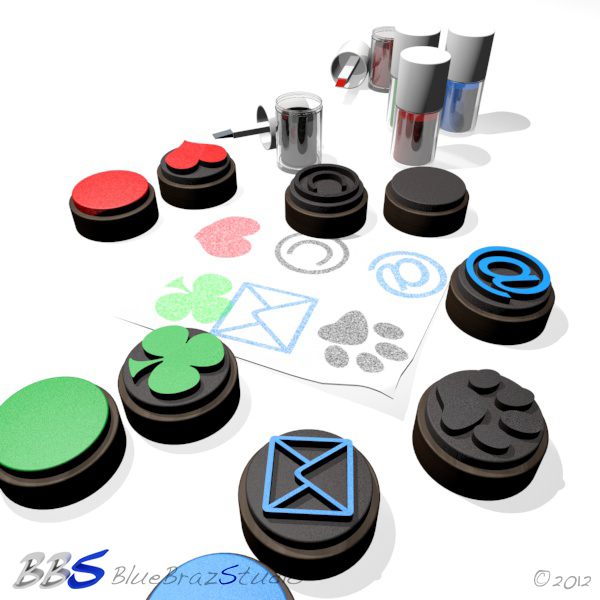 rubber stamps set 3d model 3ds max c4d dae 140689