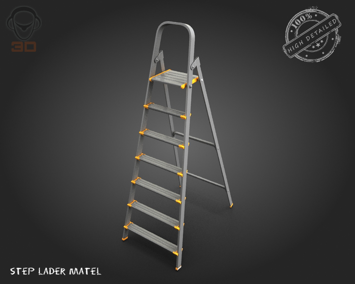 step ladder metal 3d model 3ds max fbx obj 137075