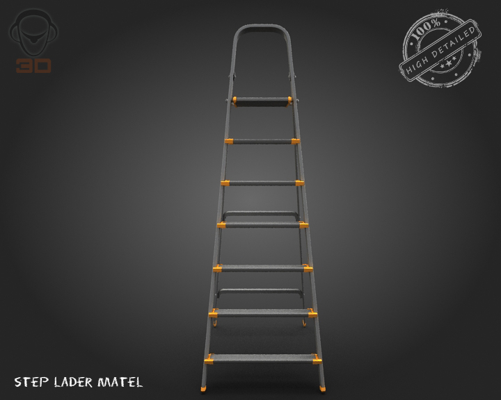 step ladder metal 3d model 3ds max fbx obj 137076