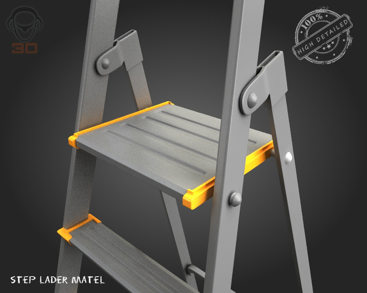 step ladder metal 3d model 3ds max fbx obj 137077
