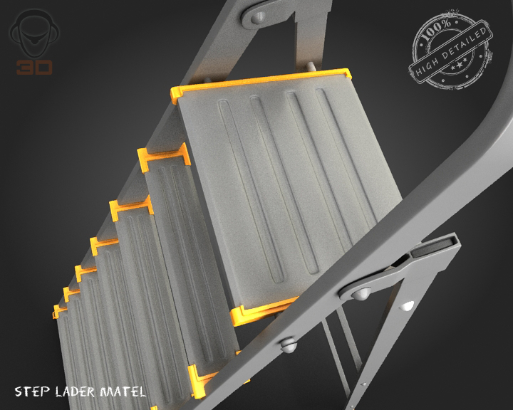step ladder metal 3d model 3ds max fbx obj 137078