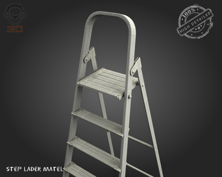 step ladder metal 3d model 3ds max fbx obj 137080