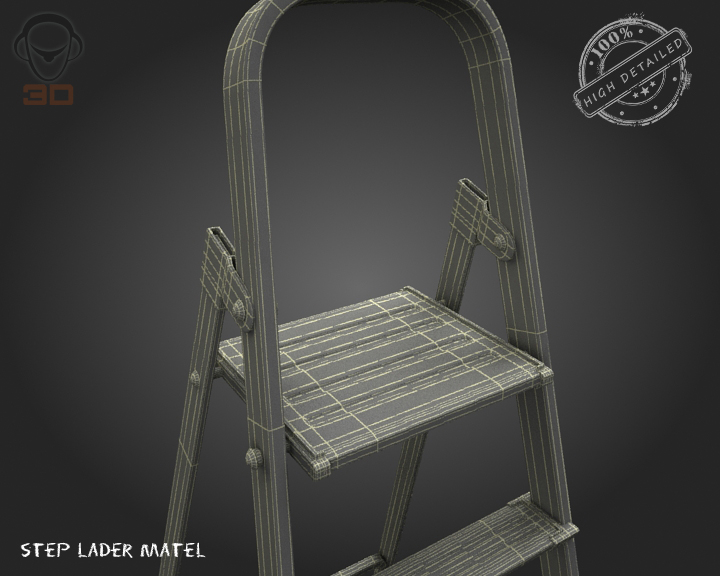 step ladder metal 3d model 3ds max fbx obj 137081