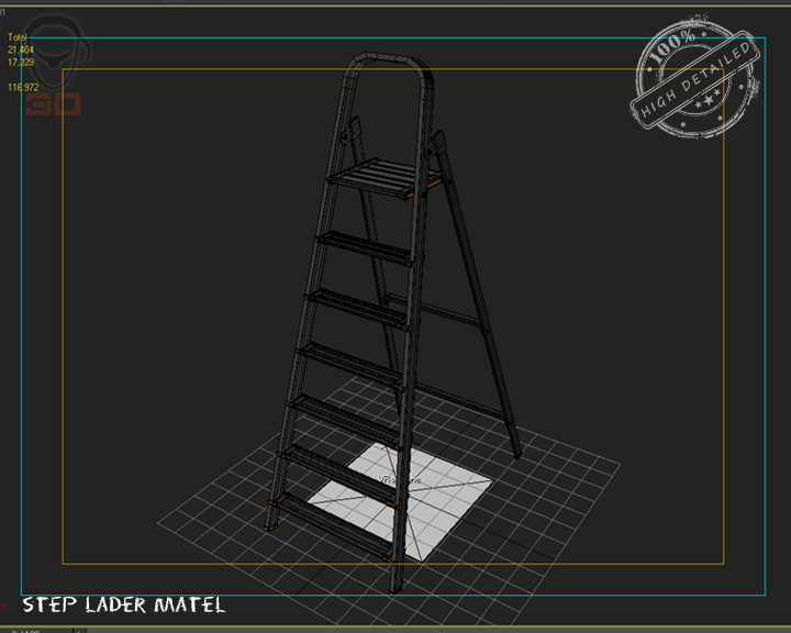 step ladder metal 3d model 3ds max fbx obj 137082
