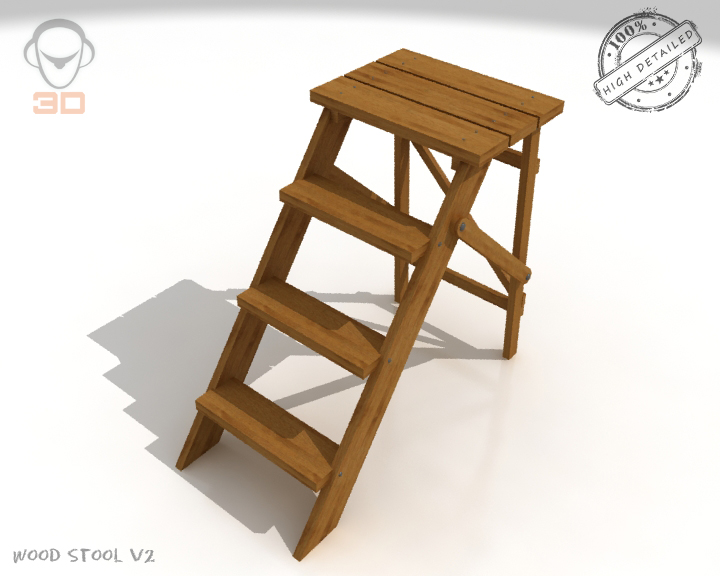 step lader wood v2 3d model 3ds max fbx obj 137591