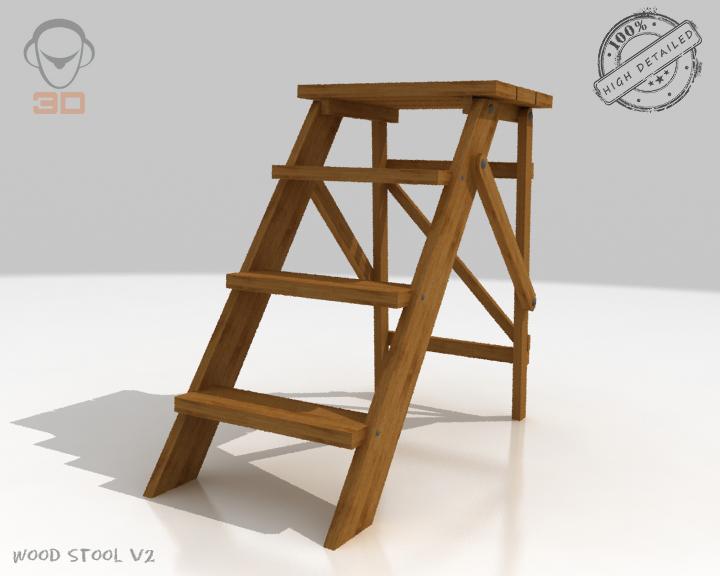 step lader wood v2 3d model 3ds max fbx obj 137592