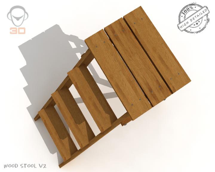 step lader wood v2 3d model 3ds max fbx obj 137593