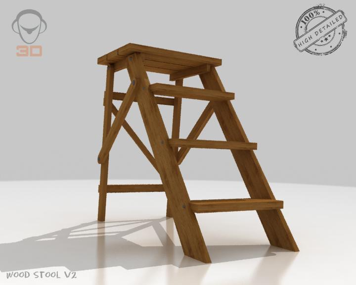 step lader wood v2 3d model 3ds max fbx obj 137594