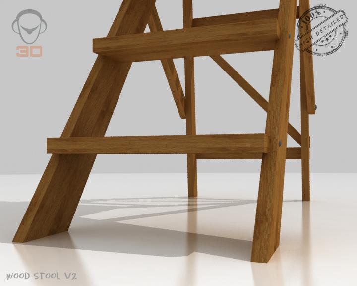 step lader wood v2 3d model 3ds max fbx obj 137596
