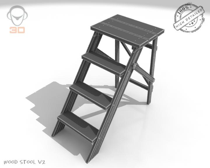 step lader wood v2 3d model 3ds max fbx obj 137597