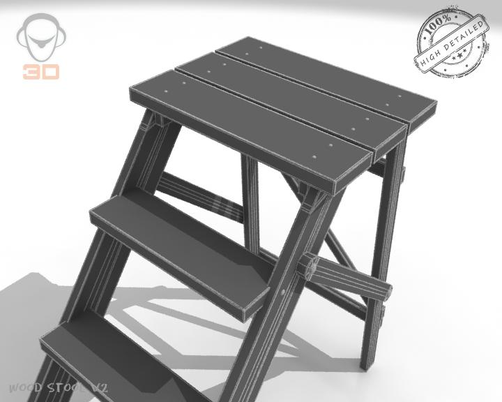 step lader wood v2 3d model 3ds max fbx obj 137598