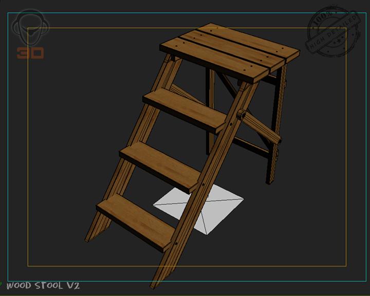 step lader wood v2 3d model 3ds max fbx obj 137599