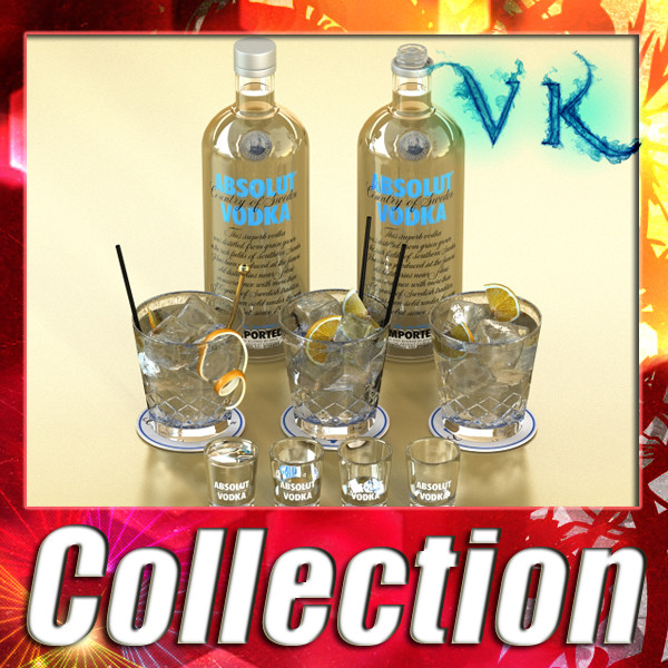 vodka absolut collection 3d model 3ds max fbx obj 135974