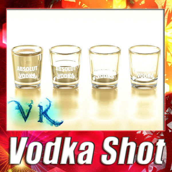 vodka shot glass. 3d model 3ds max fbx obj 136009