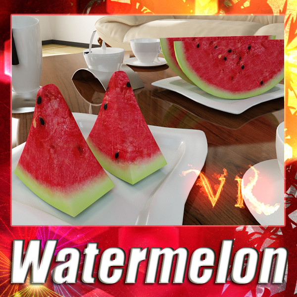 watermelon high res textures 3d model 3ds max fbx obj 133153