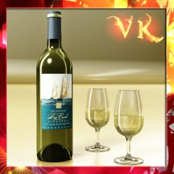 White Wine Bottle and Cup ( 287.58KB jpg by VKModels )