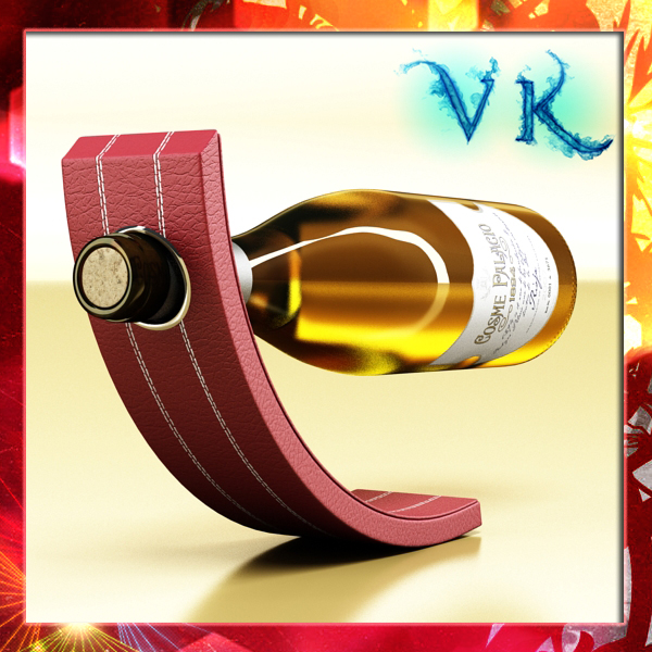 Rak wain 5 dan botol wain putih 3d model 3ds max fbx obj 146163