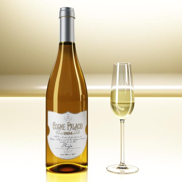 дарс өлгүүр 5, цагаан дарсны лонх 3d загвар 3ds хамгийн их fbx obj 146172