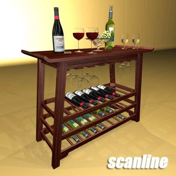 wine table rack 2. 3d model 3ds max fbx obj 146860
