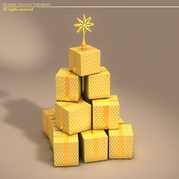 xmas gift box tree 3d model 3ds dxf fbx c4d dae ma mb obj 133371