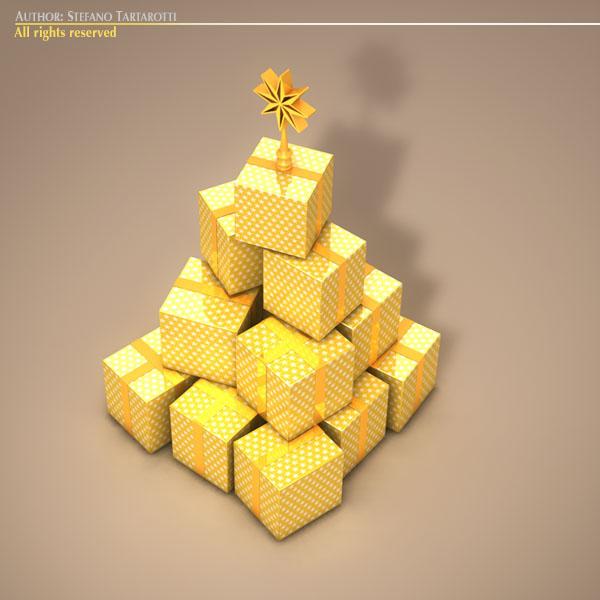 xmas gift box tree 3d model 3ds dxf fbx c4d dae ma mb obj 133372