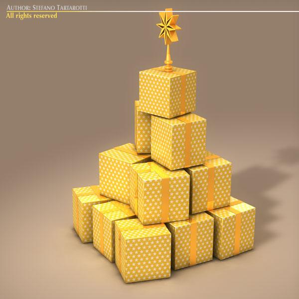 xmas gift box tree 3d model 3ds dxf fbx c4d dae ma mb obj 133373