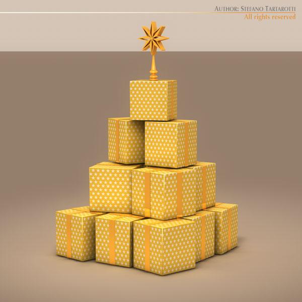 xmas gift box tree 3d model 3ds dxf fbx c4d dae ma mb obj 133374