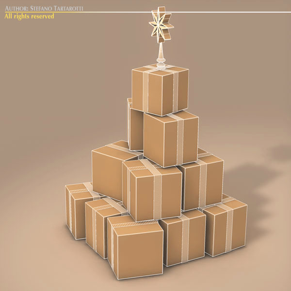 xmas gift box tree 3d model 3ds dxf fbx c4d dae ma mb obj 133375