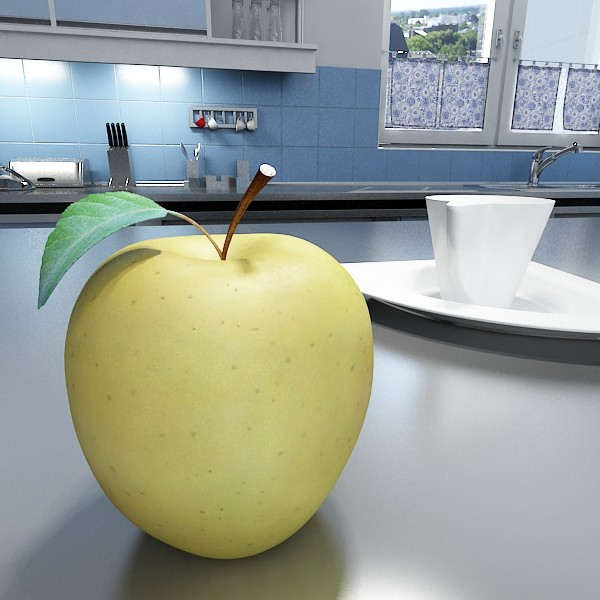yellow apple high detail resolution 3d model 3ds max fbx obj 132731