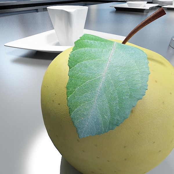 yellow apple high detail resolution 3d model 3ds max fbx obj 132732