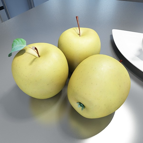 yellow apple high detail resolution 3d model 3ds max fbx obj 132733