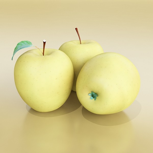 yellow apple high detail resolution 3d model 3ds max fbx obj 132734
