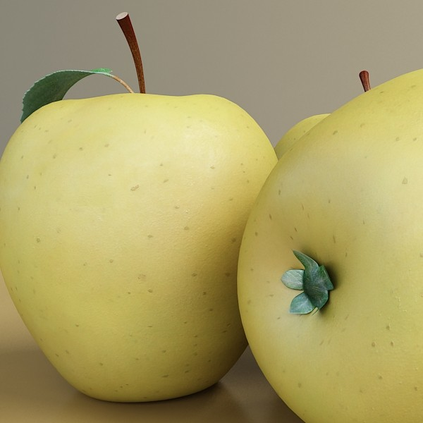 yellow apple high detail resolution 3d model 3ds max fbx obj 132736